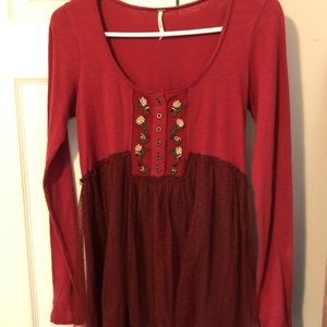Free People embroidered maroon tulle tunic